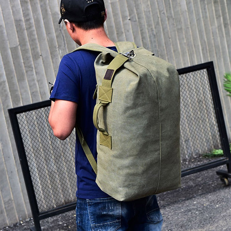 Large Man Travel Bag Mountaineering Backpack Male Luggage Canvas Bucket Shoulder Military Army Bags For Boys Men Backpacks XA88C