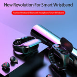 "Sport Watch 0.96"" M1 AI Smart Watch With Bluetooth Earphone Heart Rate Monitor Smart Wristband Long Time Standby Wireless Earbud"
