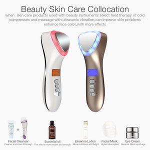 Ultrasonic Cryotherapy Face Lifting Hot Cold Hammer Electric anti aging Skin Rejuvenation Tightening Device Spa Facial Massager