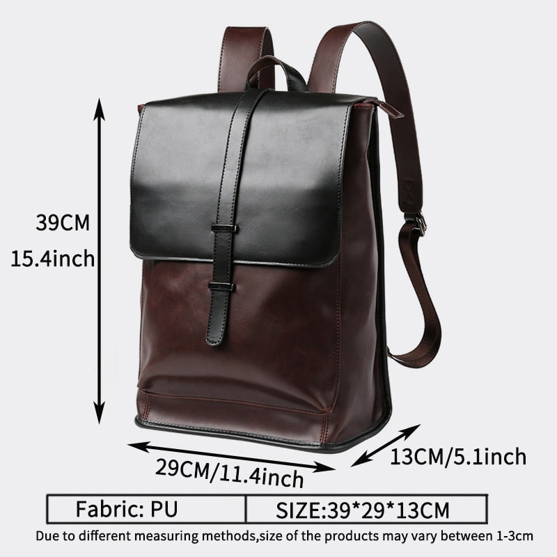 Vintage Laptop Leather Backpacks for School Bags Men PU Travel Leisure Backpacks Retro Casual Bag Schoolbags Teenager Students