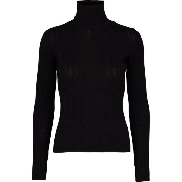 Basic apparel rullekravebluse i strik, Alisia - Black