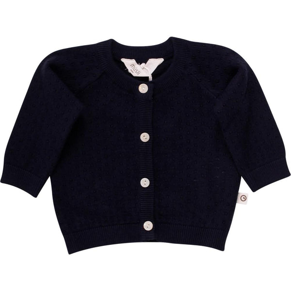 Müsli cardigan, strikket dot - Navy