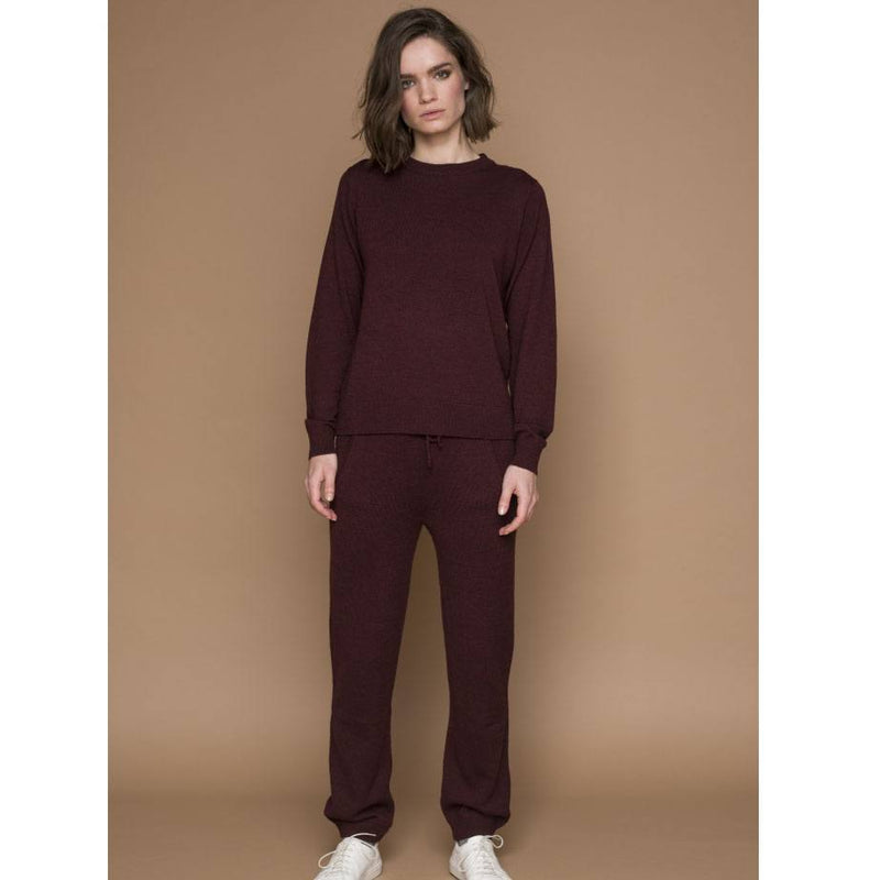 Basic Apparel Sweater, Vera O-neck - Bordeaux melange