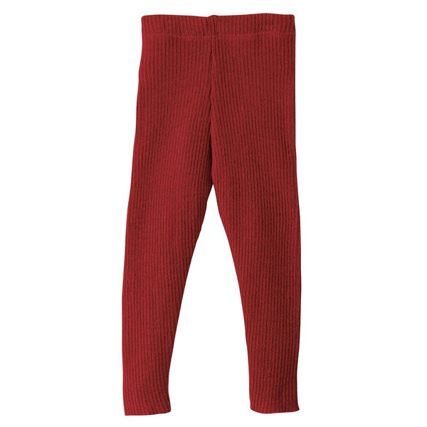 Disana bukser / leggings i uld m/rib - Bordeaux