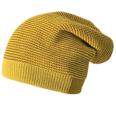 Image of   Disana hue / beanie i uld, lang - Curry/Gold Mel.