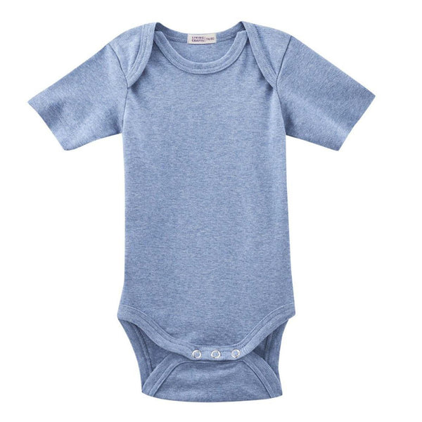Living Crafts body m/korte ærmer, Blue Melange