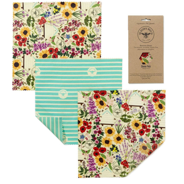 The Beeswax Wrap Co. Floral, Cheese Pack - 3 wraps
