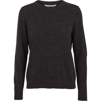 Basic Apparel Sweater, Vera O-neck - Dark grey melange