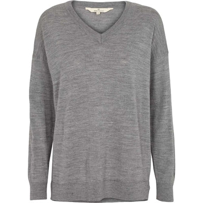 Basic Apparel Sweater, Vera V-neck - Light Grey Mel - naturebaby.dk
