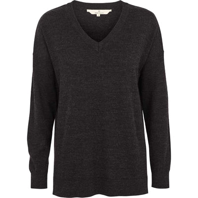 Basic Apparel Sweater, Vera V-neck - Dark grey melange - naturebaby.dk