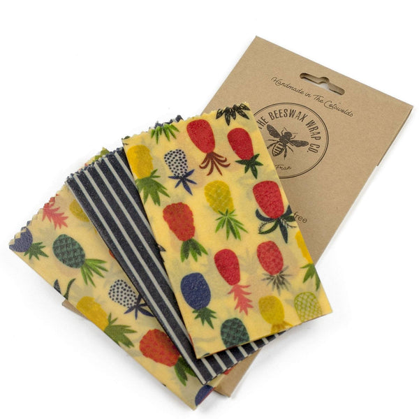 The Beeswax Wrap Co. Pineapple, Cheese Pack - 3 wraps