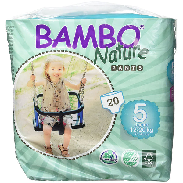 Bambo Nature buksebleer - Str 5 Junior, 12-20kg. - 20stk.