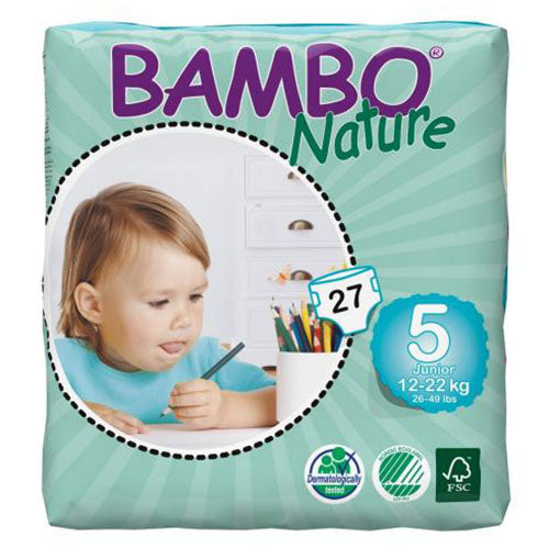 Bambo Nature bleer - Str 5 Junior, 12-22kg. - 27stk.