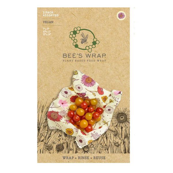 Bee's Wrap 3-pak assorteret, Meadow Magic - Vegansk