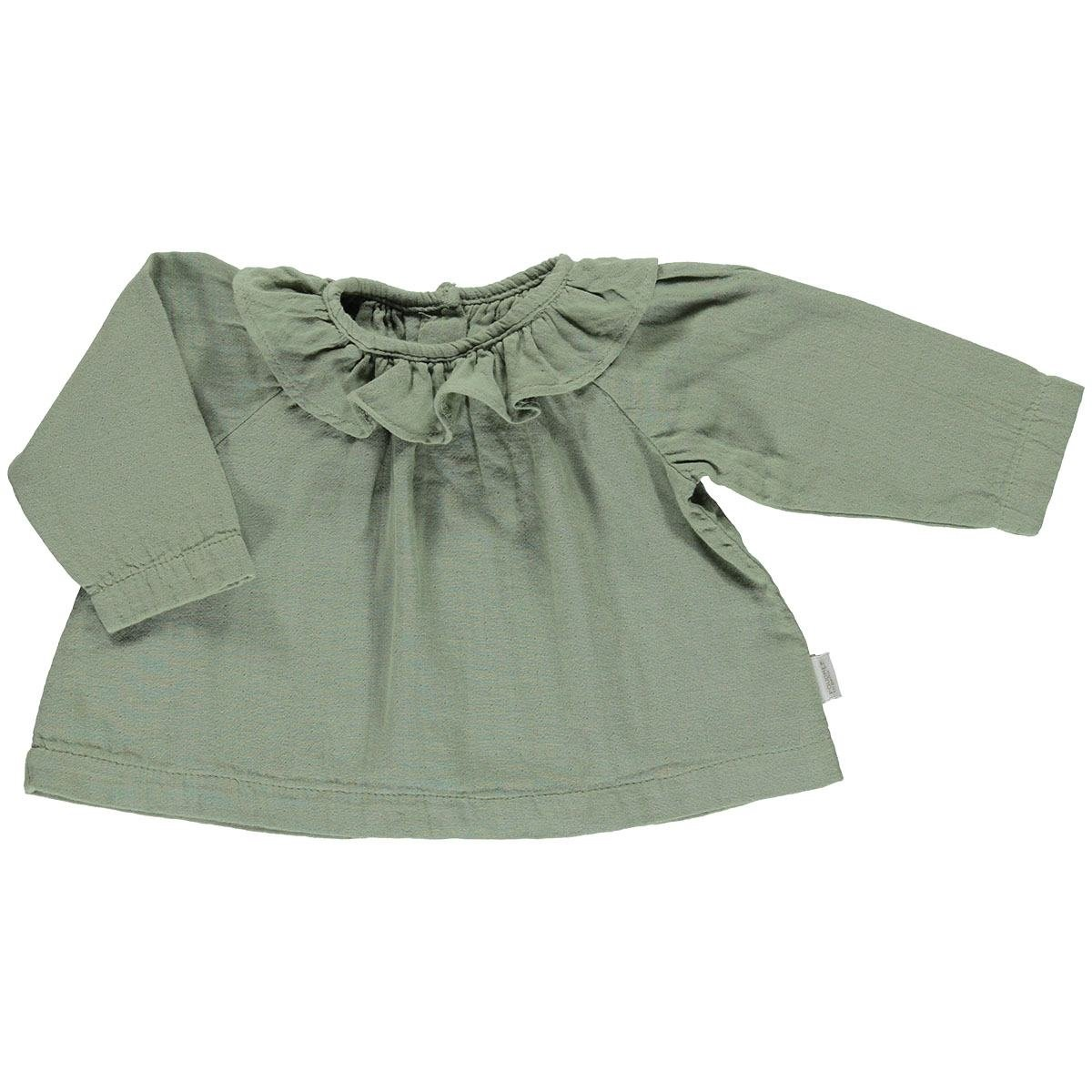 Image of   Poudre Organic bluse m/krave, Charme - Oil Green