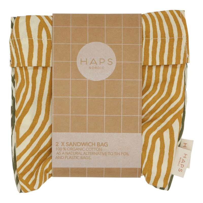HAPS 2-pak sandwich bag, 16x16 - Fall wave print
