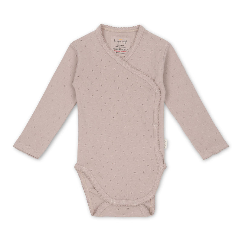 Konges Sløjd body m/hulmønster, Minnie - Rose Grey