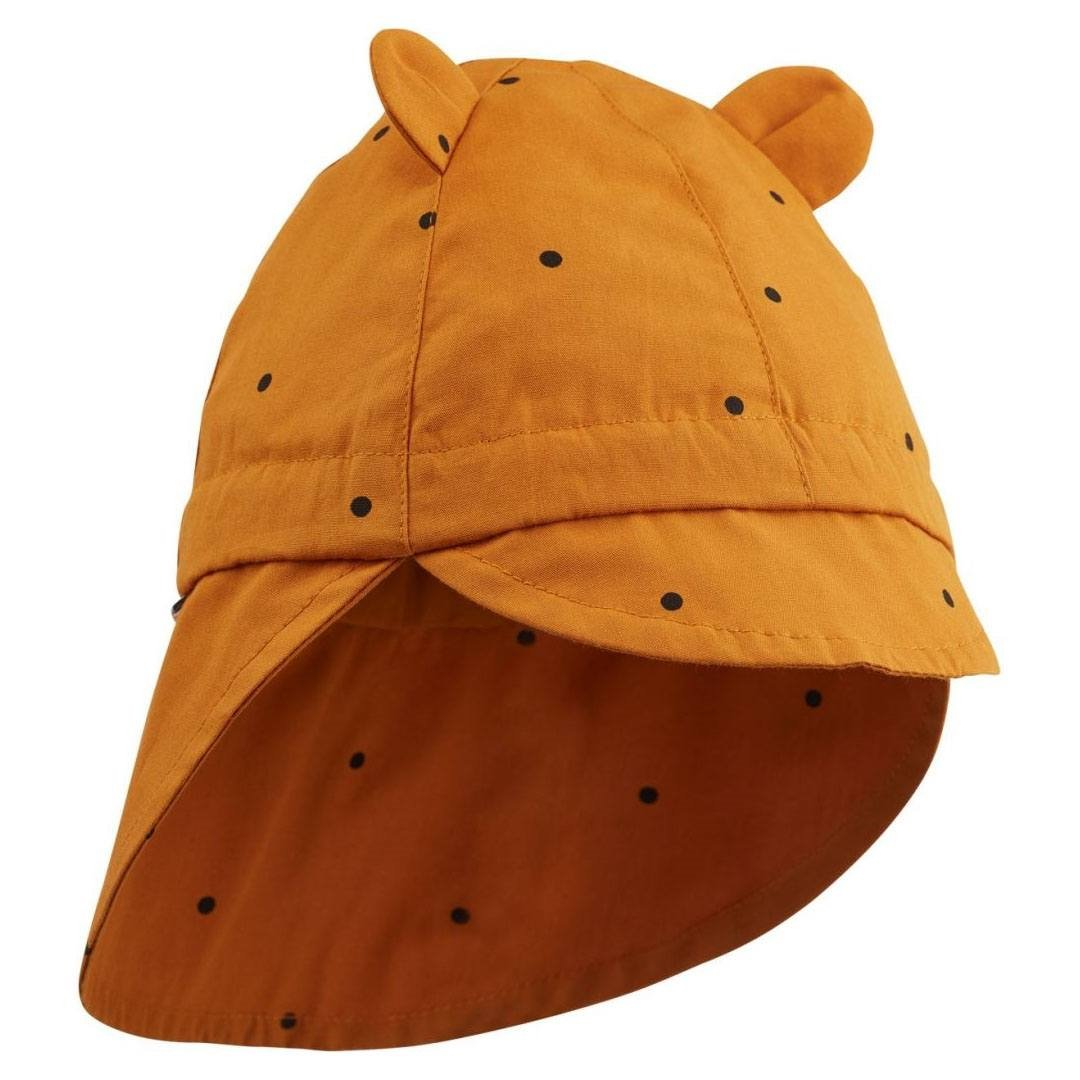 Image of   Liewood solhat m/nakkeskygge, Classic dot - Mustard
