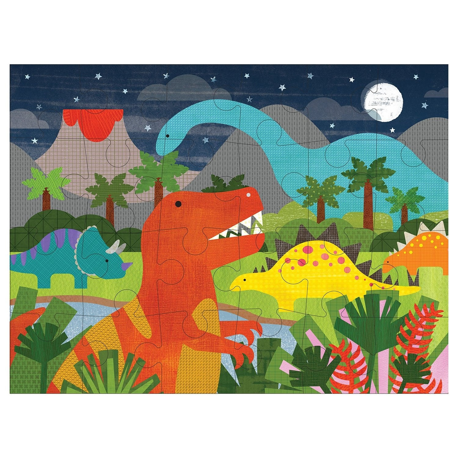 Image of   Petit Collage gulvpuslespil - Dinosaurer