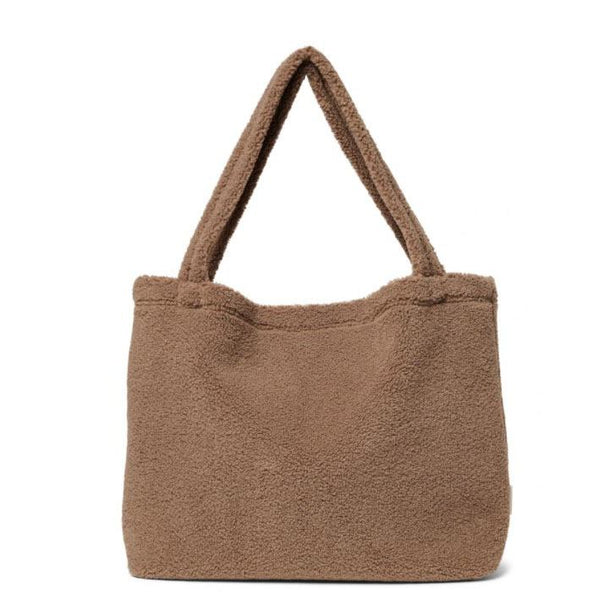 STUDIO NOOS pusletaske / mommybag i Teddy Fleece - Brown Walnut