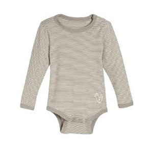 Living Crafts bomulds body m/lange ærmer - Taupe stribet
