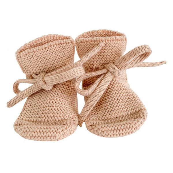 hvid futter i uld, Booties - Apricot