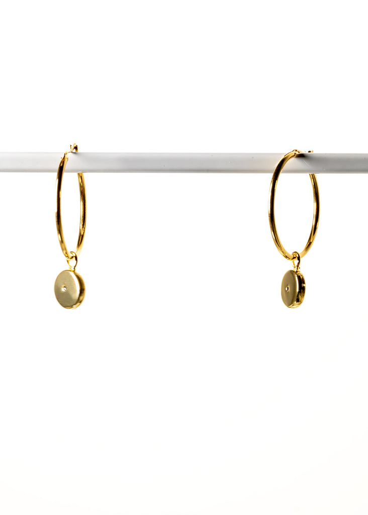 Medium Hoops Charm Dangles, 18k Gold