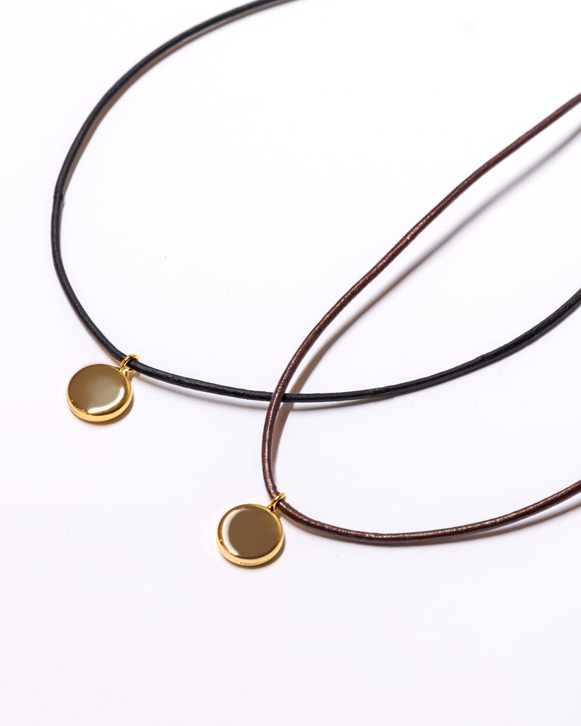 The Leather - Solo Pendant Necklace (Blk/Nature/Choco)