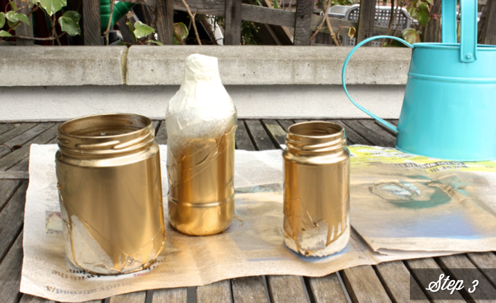 diy spray painted glass jars