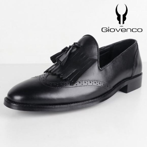 BLACK KINGSHIP KILTIE-TASSEL LOAFERS GENUINE LEATHER SHOES FOR MEN