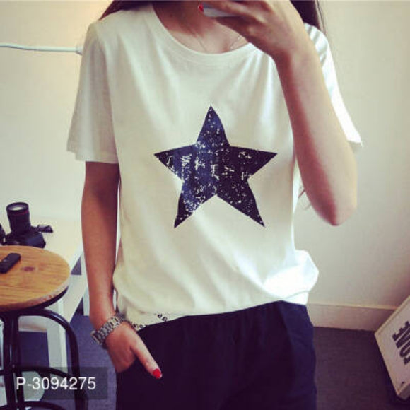Trendy Polyester Star Printed Round Neck T-shirt
