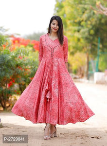 Red Printed Rayon  Kurti for  Women's - ey-estopper