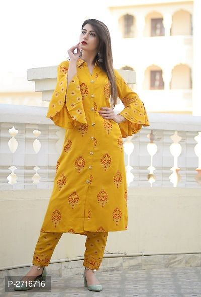Rayon Printed Women And Girl Party Wear kurti with plazzo - ey-estopper