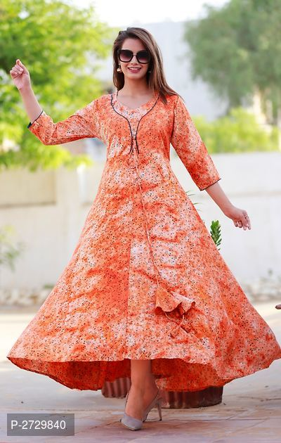 Orange Printed Rayon  Kurti for  Women's - ey-estopper