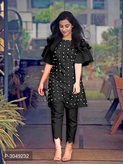 Hot Selling PC Cotton Bell Sleeved Kurtis With Pant Set
