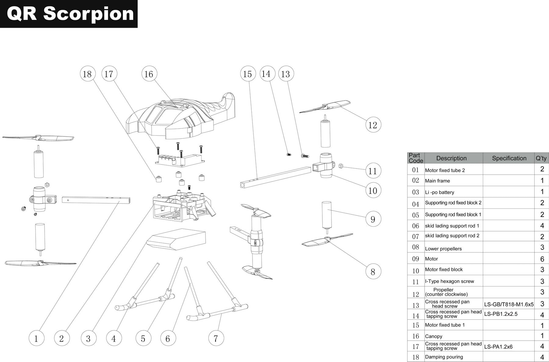 myrcvision com  u2014 walkera qr scorpion parts diagram