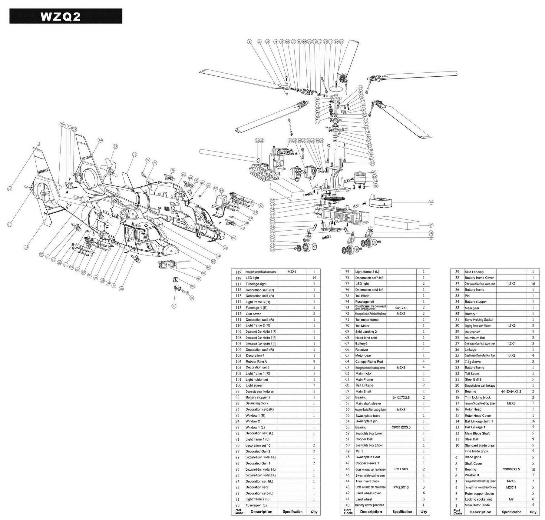 MyRCVision.com — Walkera WZQ2 WZ Q2 Exploded Parts Diagram