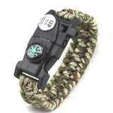 Survival Bracelet With Compass Fire Starter And Whistle Emergency