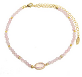 Little Lou Choker in Rose Quartz and Gold