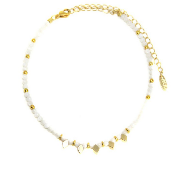 Darla Choker in Mother of Pearl and Gold