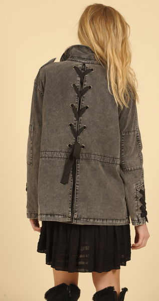 Washed Twill Button Down Lace Sleeve Jacket