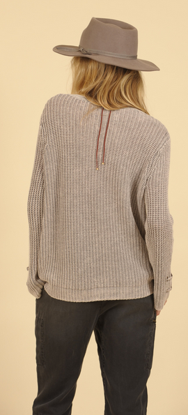 Washed Champagne Lace Up Sweater