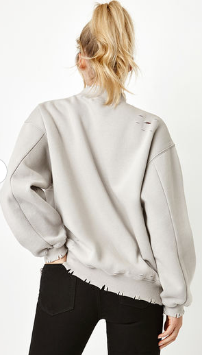 Distressed Mock Neck French Terry Sweatshirt