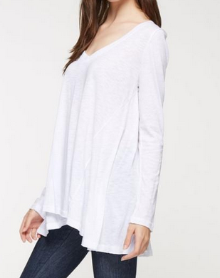 Oversized Slub V Neck