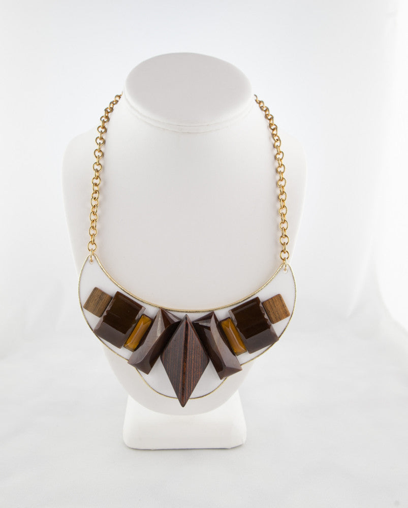 Lucite, Leather and Wood Bib Necklace