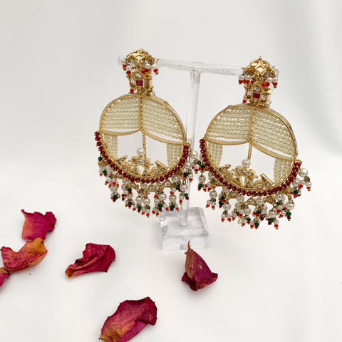 Palki Earrings (Deep Red)