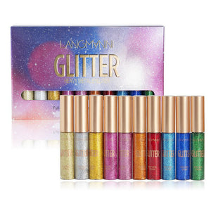 10 Color Glitter Liquid Eyeliner - Secret Beauties