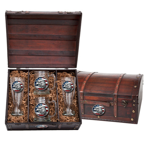 EAGLE HEAD W/ FLAG BEER CHEST SET