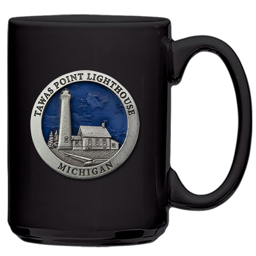 Michigan Tawas Point Lighthouse Black Coffee Mug