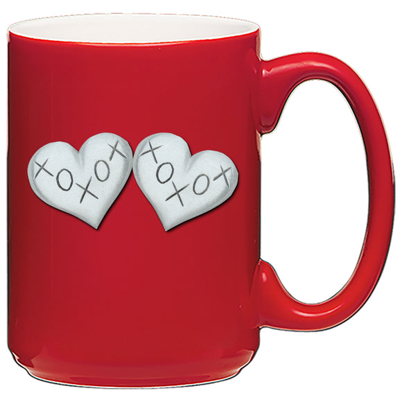 2 hearts xoxo coffee mug for valentines day